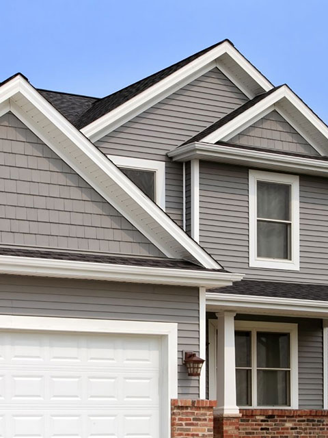 Home With New Gray Fiber Cement Siding